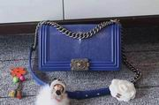 Chanel Leboy25cm blue devil fish skin blue silver metal ,Handbags,Chanel replicas wholesale