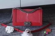 Chanel Leboy25cm red devil fish skin red silver metal ,Handbags,Chanel replicas wholesale