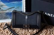 Chanel Leboy25cm black devil fish skin black silver metal,Handbags,Chanel replicas wholesale