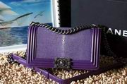 Chanel Leboy25cm purple devil fish skin purple silver metal ,Handbags,Chanel replicas wholesale