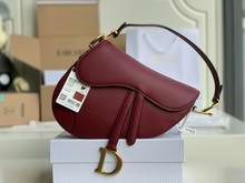SADDLE BAG Cherry Red Grained Calfskin